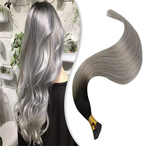 Youngsee I Tip Hair Extensions, balayage natural black with silver