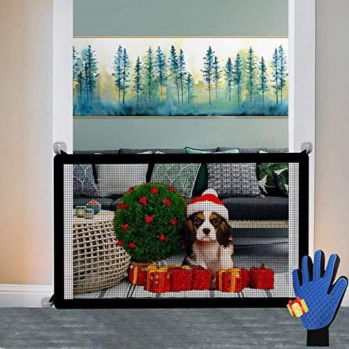 Nifogo Puerta MáGica para Perros, Magic Gate, Portátil Plegable, Fácil de Instalar en Cualquier Lugar (110 * 72cm, Guantes)