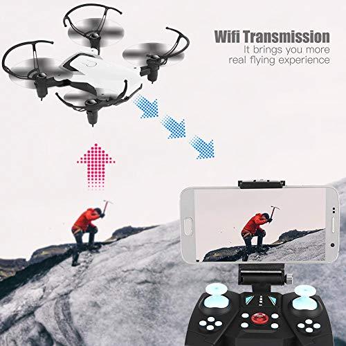 FPV WiFi Cámara Ajustable Helicóptero Juguetes Control Remoto RC Drone, Mini Drone con cámara RC Quadcopter,(White, 720P)