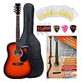 Classic Cantabile guitarra acústica con pastillas set principiante incl. set de accesorios sunburst