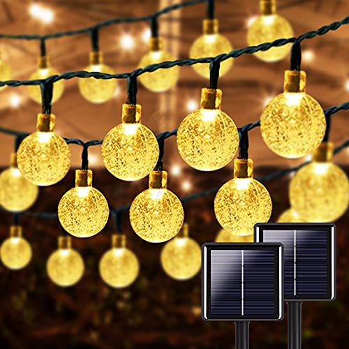 Ultra-Long 2-Pack 46FT 160 LED Crystal Globe Solar String Lights Outdoor Waterproof, Solar Lights Outdoor Decorative with 8 Modes, Solar Powered Patio Lights for Garden Xmas Party (Warm White)