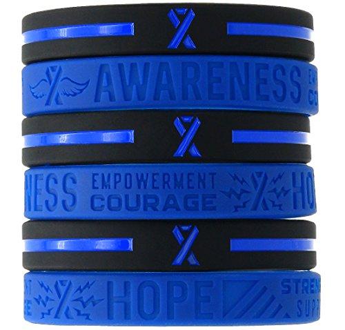 (12-pack) Blue Awareness Ribbon Silicone Wristbands - Wholesale Bulk Pack of 1 Dozen Bracelets in Unisex Adult Size