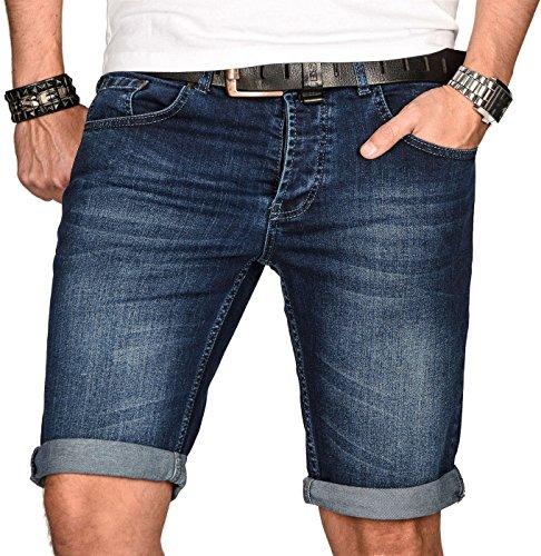 A. Salvarini Herren Designer Jeans Short Kurze Hose Slim Sommer Shorts Bermuda, Hellblau Used-look, W32
