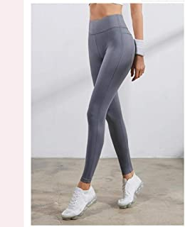 LPKH Yoga Pants Women Yoga Leggings,High Waist Tummy Control,Sports Leggings Tights,Trousers (Color : Gray, Size : S)