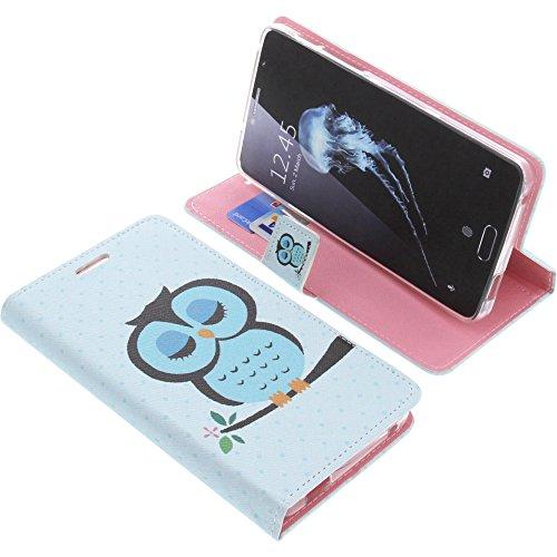 foto-kontor Tasche für Alcatel Flash Plus 2 Book Style Eulen blau Schutz Hülle Buch