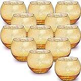 Lamorgift Gold Votive Candle Holders Set of 12 - Mercury Glass Votives Candle Holder - Tea...
