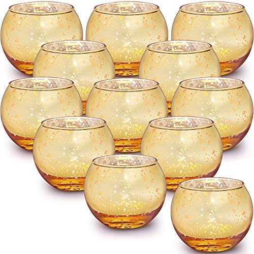Lamorgift Gold Votive Candle Holders Set of 12 - Mercury Glass Votives Candle Holder - Tealight Candle Holder for Home Decor and Weddings/ Parties Table Centerpieces
