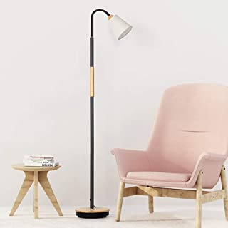 Floor Lamps with Wood Mid-Rod Simple Standing Light Rustic Standing Reading Lamps for Living Room Bedroom Office Farmhouse