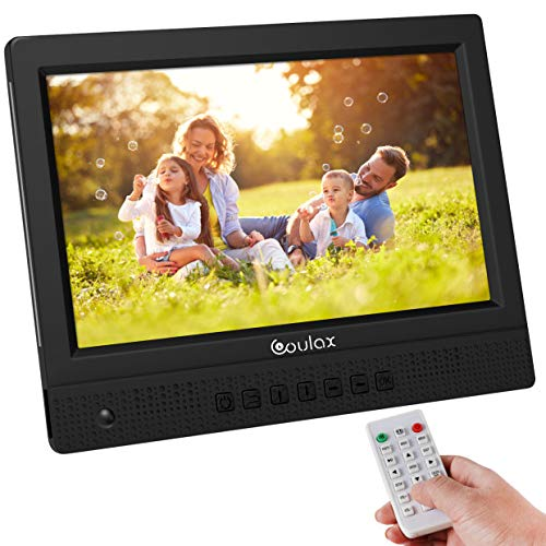 COULAX10 Zoll Digitaler Bilderrahmen 1020x768 Hochauflösendes Full-IPS-Display Elektronischer Fotorahmen Video Musik Foto Player mit Uhr/Kalender-Funktion Unterstützt USB SD-Karte Ultra Slim Design
