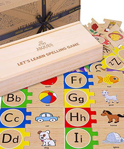 Jaques of London Alphabet Puzzle Juguete Educativo - Rompecabezas de Madera para niños y Juego de Letras del Alfabeto de Madera - Rompecabezas de Madera 1795