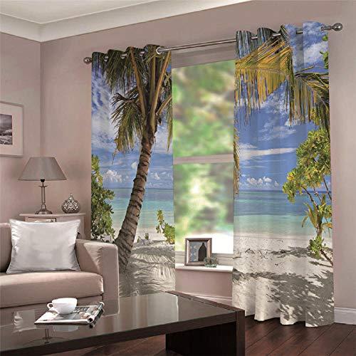 LOVEXOO 3D Stampate Tende Hawaii, Stati Uniti L67.5 x A244cm Tenda a Occhiello - Tende in Poliestere Anti-UV 3D Stampante Pannelli Finestra Tendiini per Porta