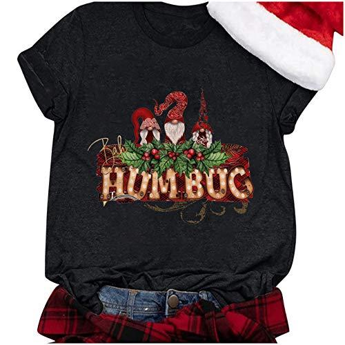 IHEHUA Camiseta de Papá Noel para mujer, diseño navideño AE-negro. XXL