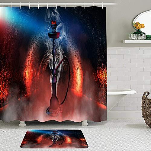 TARTINY Juego de Cortina de Ducha de 2 Piezas con alfombras Antideslizantes, Cachimba en una habitación Oscura con Humo, luz de neón con 12 Ganchos