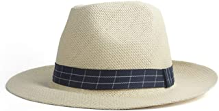 CHENDX High Quality Hat, Classic Simple Panama Sun Hat Summer Ladies Men's Straw Hat Beach Hat UV Protection Sun Cap (Color : Khaki, Size : 56-58CM)