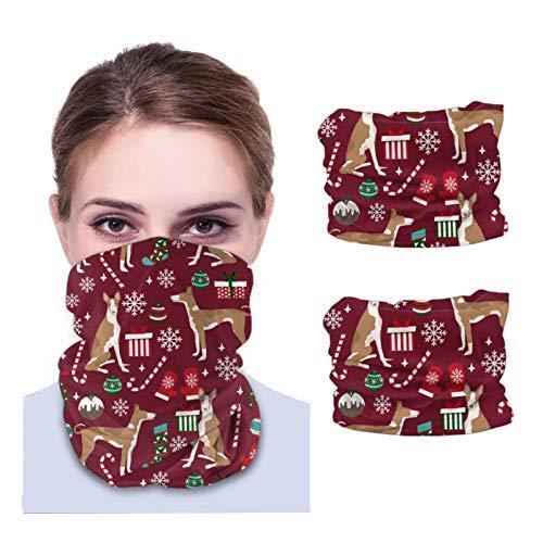 Ibizan Hound Weihnachten – Ruby Variety Face Towel Face Neck Gaiter Headwear Warm Scarf Sturmhaube Neutral Bandanas Soft Windproof Multifunktions Protection Outdoor...