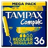 Tampax Compak Regular Tampones Con Aplicador, Protección Antimanchas Y Discreción, Limpieza, 36 Unidades