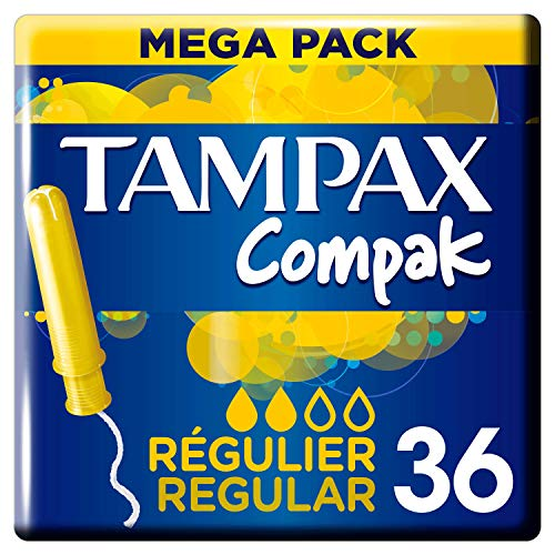 Tampax Compak Regular Tampones Con Aplicador, Protección Antimanchas Y Discreción, Limpieza, 36...