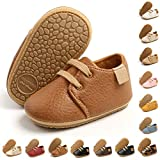 BENHERO Baby Boys Girls Moccasins Oxford Sneakers PU Leather Rubber Sole Infant Loafers Anti-Slip Toddler First Walkers Crib Dress Shoes(0-6 Months Infant C/Brown)