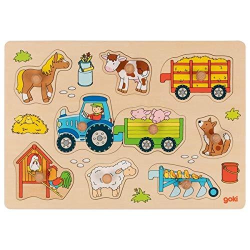 Goki Steckpuzzle Traktor mit Anhängern