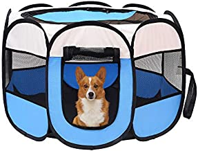 Mile High Life | Portable Cat Dog Crate | Foldable Dog Case Tent | Collapsible Travel Crate | Water Resistant Shade Cover | for Dogs/Cats/Rabbit (Blue, Middle-Dia36 H23