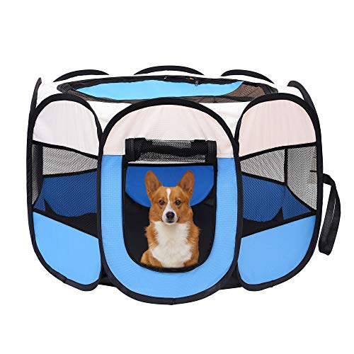 Mile High Life | Portable Cat Dog Crate | Foldable Dog Case Tent | Collapsible Travel Bowel | Water Resistant Shade Cover | for Dogs/Cats/Rabbit (Blue, Middle-Dia36 H23 Categories