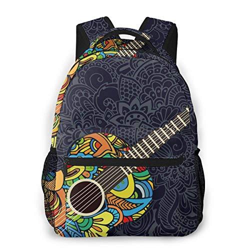 Lawenp Fashion Unisex Backpack Guitar Pattern Bookbag Lightweight Laptop Bag for School Travel Outdoor Camping