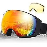 Elegear Ski Gafas Snowboard Gafas Esquí Lente Substituible Montura Entera Campo Visual Máximo Lentes Antiniebla UV Protección 100% Hombre y Mujer (Rojo)