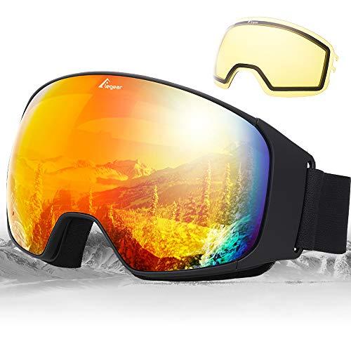 Elegear Skibrille Verspiegelt mit austauschbarer Anti-Fog Ski Goggles für Herren Damen