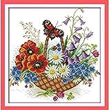 Kit de punto de cruz para adultos-DIY Cross Stitch estampado costura patrón de bordado-Cross Stitch costura a mano artesanía regalo-11CT Lienzo preimpreso 40x50cm- Ideas de la cesta de la compra