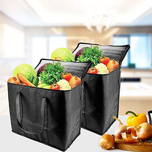Isolierte Einkaufstaschen, 2 Stück isolierte Einkaufstaschen, wiederverwendbar, faltbar, auf Fuß, isoliert für warme oder kalte Lebensmittel.