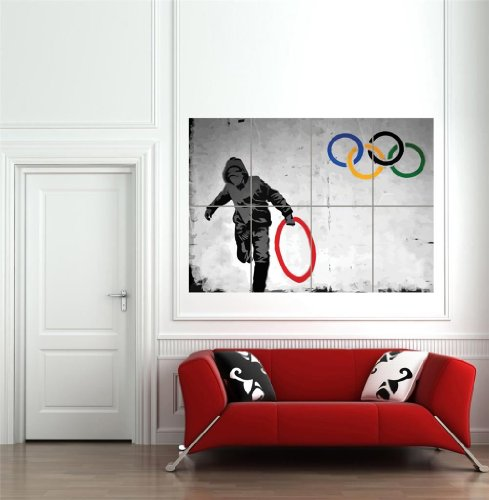 Doppelganger33 LTD Thug Steal Olympic Ring By Pure Evil Banksy Style Wall Art Multi Panel Poster Print 33x47 inches
