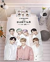 3D寝具セットKPOP BTS吹雪カバーキッズボーイズガールズ掛け布団、モダンな装飾3ピースキルトカバーセット2枕シャム (Color : B, Size : 200×200cm)