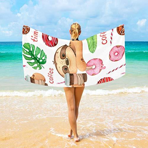 ARRISLIFE Toalla de Playa Large 94x188 cm Watercolor Sloth Donut Coffee Tropical Leaves Toallas de Viaje de baño Soft Secado rápido For Hogar Playa & Natación