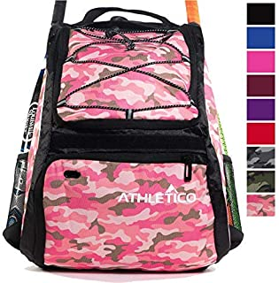 Athletico Baseball Bat Bag - Backpack for Baseball T-Ball & Softball Equipment & Gear for Kids Youth and Adults | Holds Bat Helmet Glove Shoes |Shoe Compartment & Fence Hook (Pink Camo) [並行輸入品]