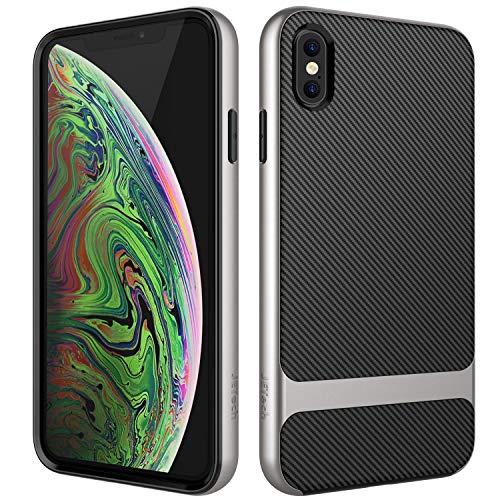JETech Cover Compatibile iPhone XS Max, Custodia con Assorbimento degli Urti e Fibra di Carbonio, Grigio