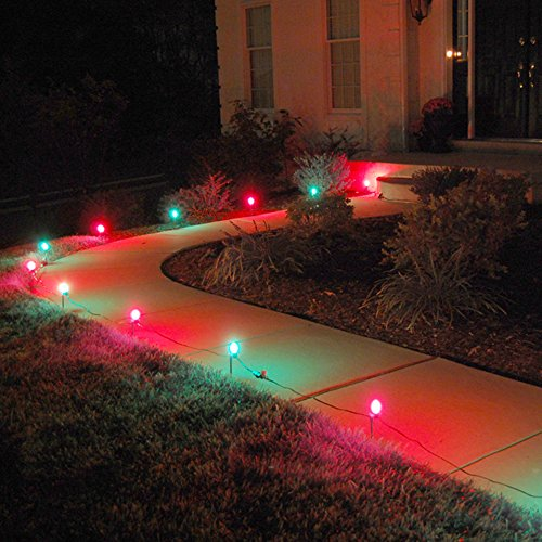 Lumabase 61110 10 Count Electric Pathway Lights, Red/Green