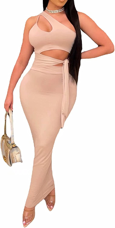 Mintsnow Women Sexy One Shoulder Sleeveless Hollow Out Bandgae Bodycon Long Maxi Dress Clubwear