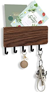 FOVERN1 Wall Mounted Mail Holder with 5 Key Hooks, Key Holder for Wall, Japanese Minimalist Designed Wall Mail Sorter Key Hanger for Entryway, Mudroom, Hallway, Kitchen, Office (Black)