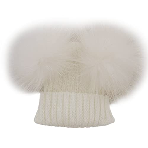 039d1e35bf9 Funoc Beanie Hat Faux Fur Pom Poms Warm Winter Hat Knit Hat for Baby Kids  Girls