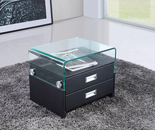 CADENTRO Table de Chevet Design en Simili Cuir Noir/SV (Noir)