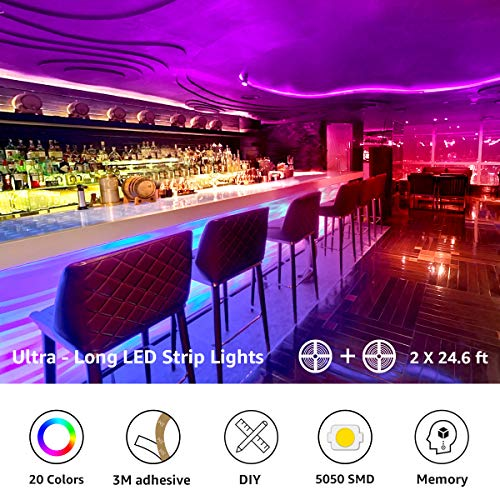 Lepro 50ft LED Strip Lights, Ultra-Long RGB 5050 LED Strips with Remote Controller and Fixing Clips, Color Changing Tape Light with 12V ETL Listed Adapter for Bedroom, Room, Kitchen, Bar(2 X 24.6FT) 2