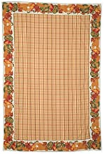 April Cornell Fabric Tablecloth Autumn Thanksgiving Plaid Pattern with Harvest Fruits Vegetables Border Mustard Yellow Brown Rust Green on Cream, 60 Inches x 90 Inches