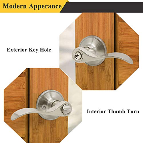 Probrico Wave Style Keyed Alike Entry Door Levers Satin Nickel Finish, Exterior Interior Keyed Door Locksets with Same Keys, 6 Pack (for Bedroom,Bathroom or Office)