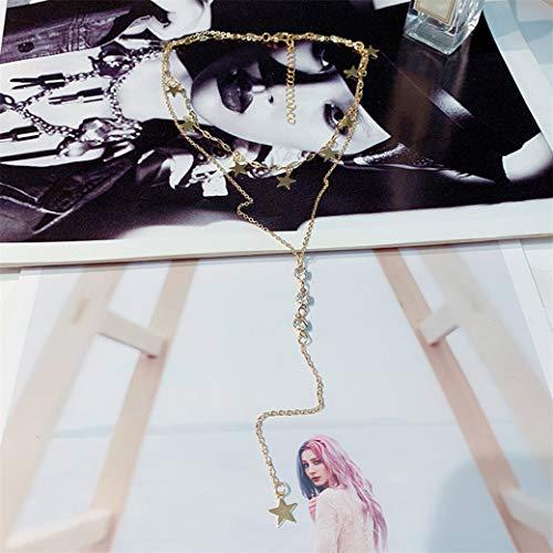 HBWHY Collar con colgante de estrella de doble capa con cadena de diamantes de imitación, cadena de clavícula, collar de cadena para mujeres y niñas