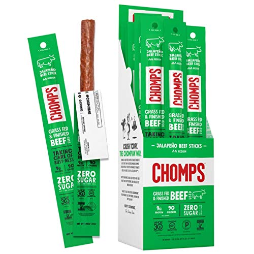 Chomps Grass Fed Jalapeno Beef Jerky Snack Sticks, Keto & Paleo, Whole30 Approved, Non-GMO, Gluten Free, Sugar Free, Nitrate Free, Low Carb, 90 Calorie Snacks, 1.15 Oz Meat Stick, Pack of 24