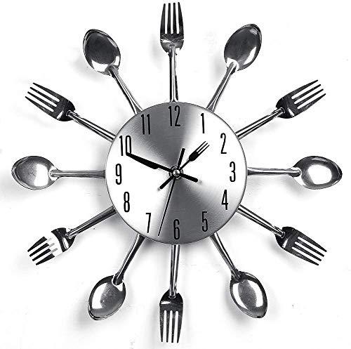 Orologio da Parete Vasellame Cucina Orologio da Parete Novità Creativa con Forchetta Decorazione d'argento Per i Moderni Club di Home Office