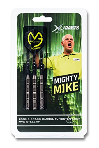 trendsportprofi XQ MAX Michael Van Gerwen Brass Steel Darts im Tungsten-Look, 23g, Material: Messing, Aluminium Schäfte, Poly Flights im MvG-Design (100 Micron), Kunststoff Dartcase, Checkout Table