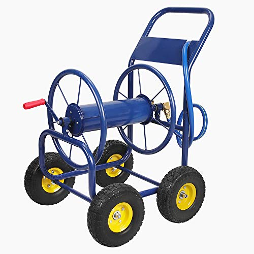 Anbull 4-Wheel Hose Reel Cart Holds for Garden Industrial 400-Feet of 1/2-Inch Hose/330-Feet of 3/4-Inch Hose