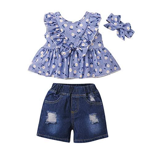 SANMIO 3 Pcs Conjunto de Ropa de Bebé Niña 1-4 Años Verano Manga Corta Tops + Pantalones Ripped Jeans + Diadema
