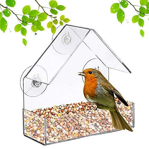 Vogelhäuschen,QSXX 1 Stück Klarer Acrylfenster-Vogelhäuschen,Dreieck hängend Vogelhaus mit Saugnäpfen Futterstation mit Dach Natur-Dekor Fenster Vogelhäuschen außen klar für Blue Jays,Finken
